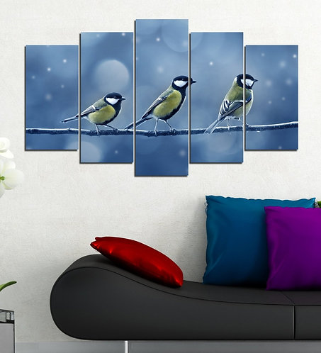 birds 5 Pieces MDF Painting