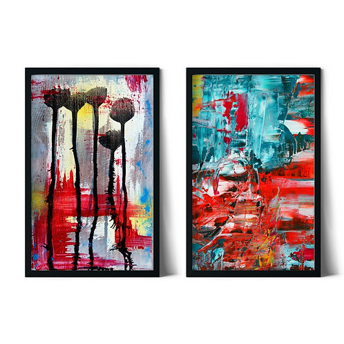 Abstract Shapes Framed Combined Table