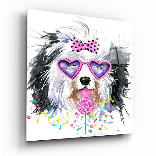 Cute Dog UV Printed Glass Painting