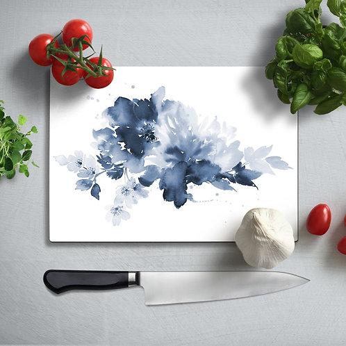 Blue Flower Uv Printed Glass Chopping Board 35x25cm