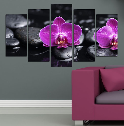 Orchids (4) 5 Pieces MDF Painting