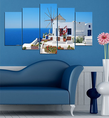 Greek houses 5 Pieces MDF Painting