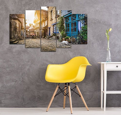 Streets of Old Italy 5 Pieces MDF Painting