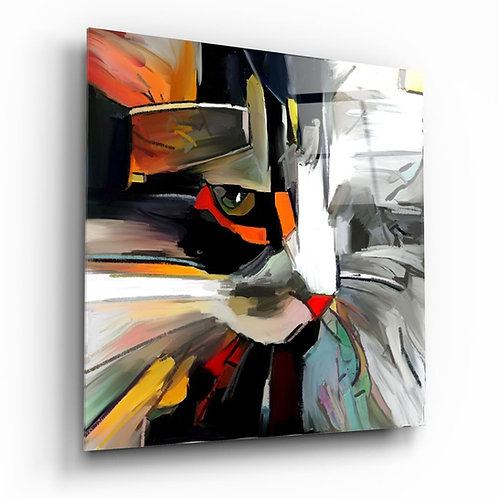 Abstract Cat UV Printed Glass Printing