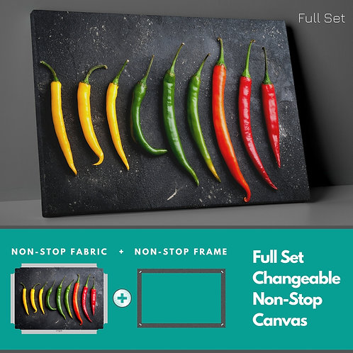 Colored Peppers Non-Stop Canvas Printings