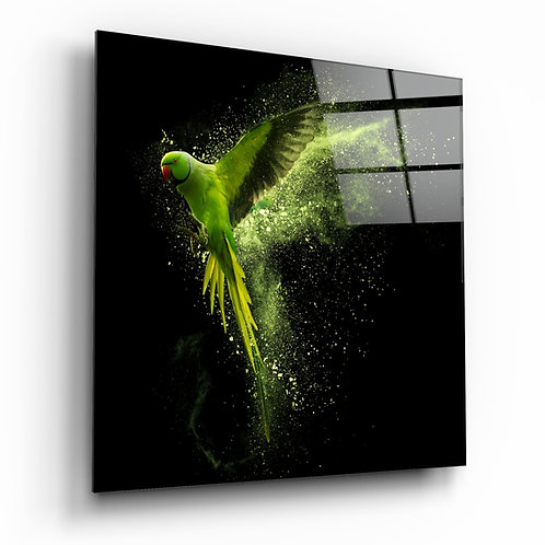 Green Parrot Glass Printing