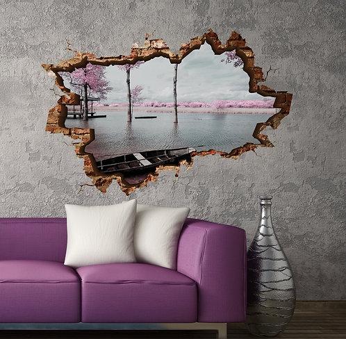 Lake And Kayak 3D Wall Sticker
