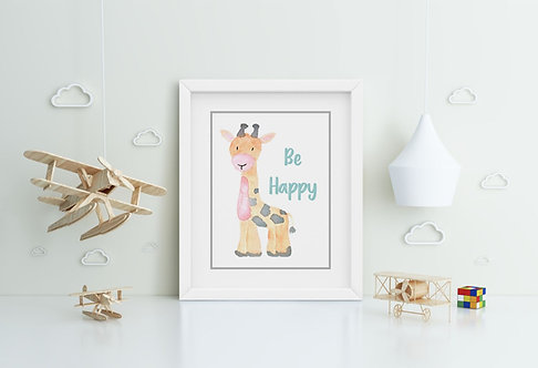 Giraffe-Be Happy Framed Printing
