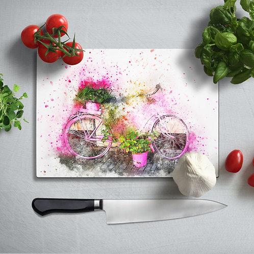 Bicycle UV Printed Glass Chopping Board 35x25cm