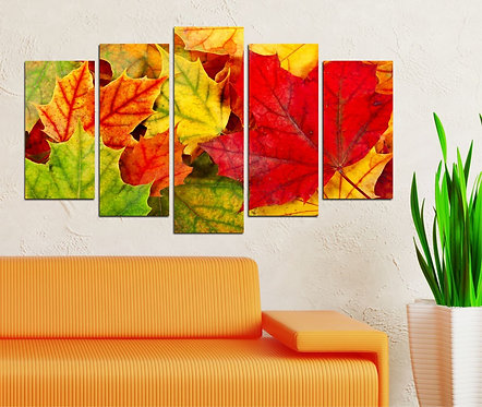 Leaves abstract (4) 5 Pieces MDF Painting