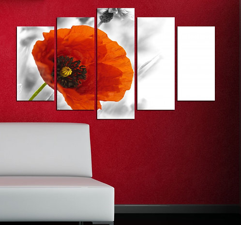 Flowers (5) 5 Pieces MDF Painting