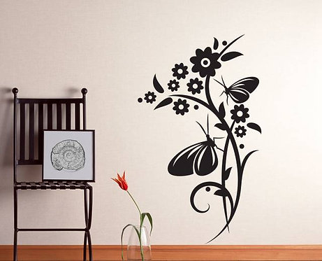 Butterfly And Flower Wall Sticker