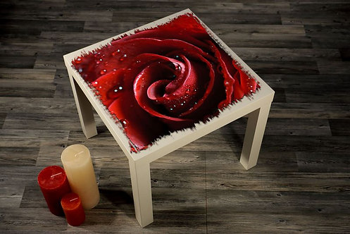 Red Rose Printed Coffee Tables