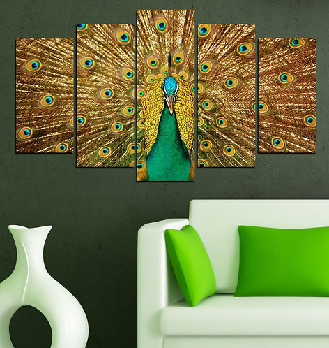 Peacock 5 Pieces MDF Painting