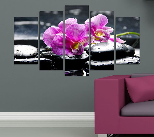 Orchids (7) 5 Pieces MDF Painting