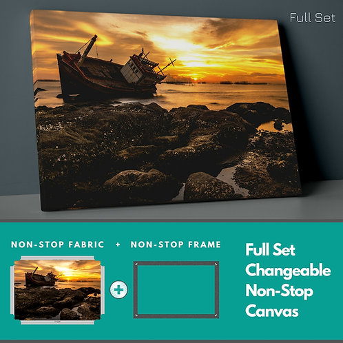 Derelict Ship And Sunset Non-Stop Canvas Printings
