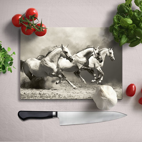 Running Horses Uv Printed Glass Chopping Board 35x25cm