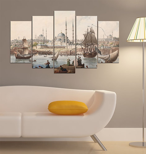Historic Areas of Istanbul 5 Pieces MDF Painting