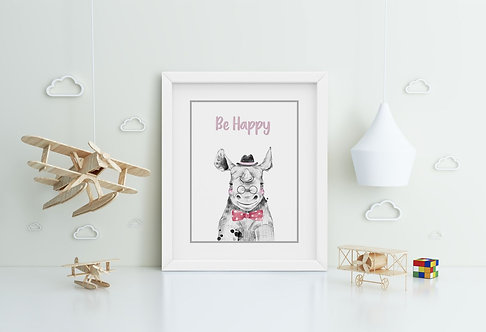 Rhino-Be Happy Framed Printing