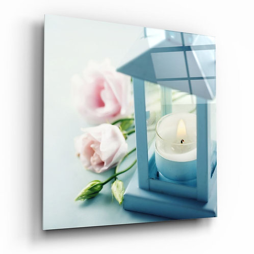 Candle UV Printed Glass Painting
