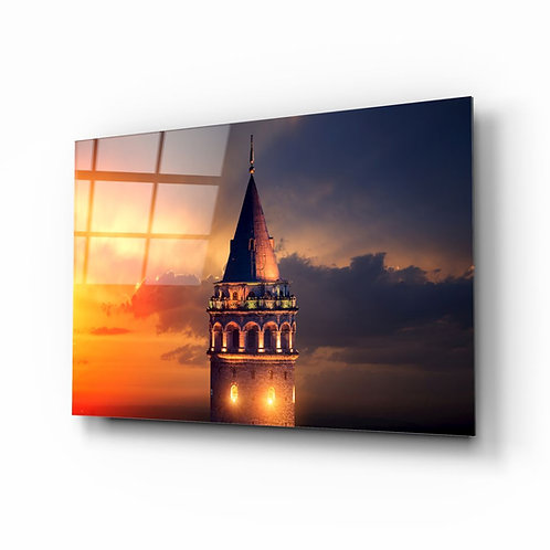 Galata Tower UV Printed Glass Painting
