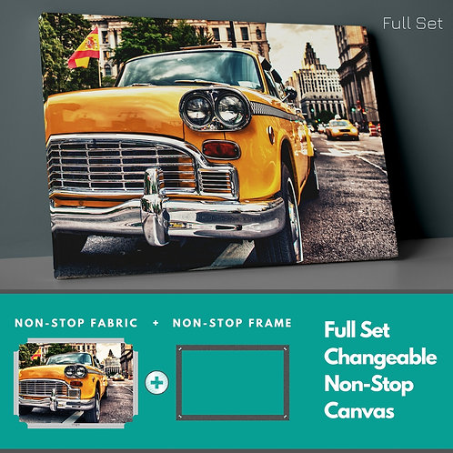 Yellow Classic Car Non-Stop Canvas Printings