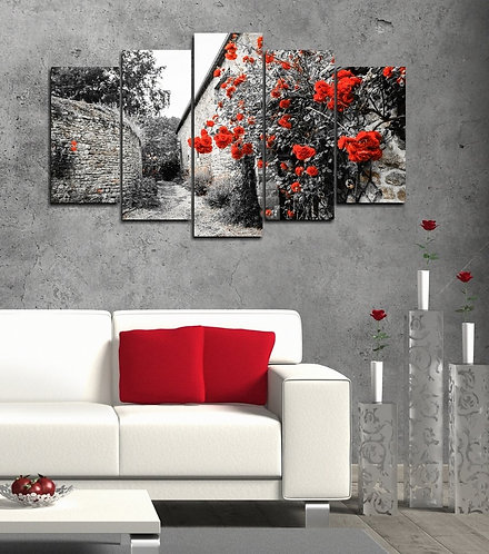 Red roses 5 Pieces MDF Painting
