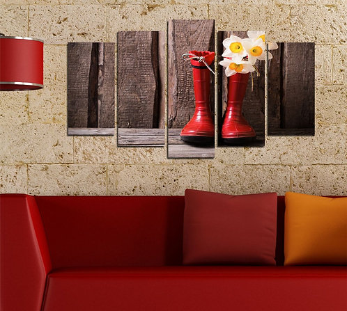 Red Boot 5 Pieces MDF Painting