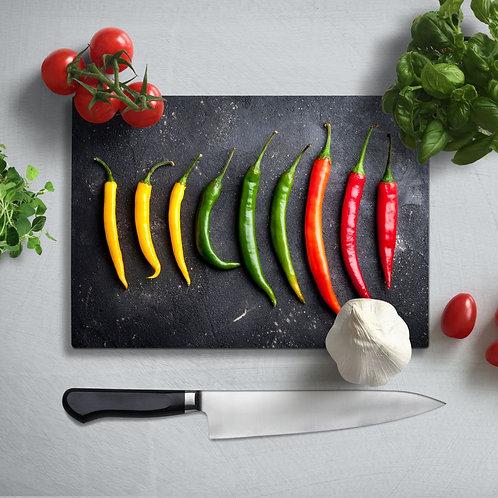 Peppers Uv Printed Glass Chopping Board 35x25cm
