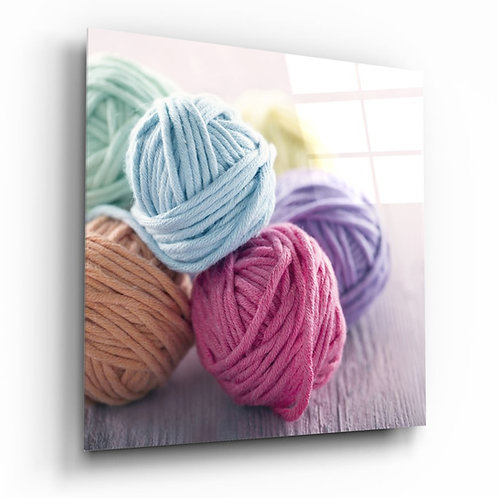 Colored Yarn Balls UV Printed Glass Painting
