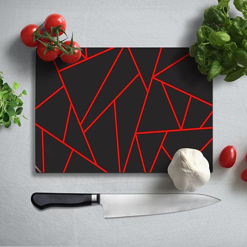 Geometric Pattern Uv Printed Glass Chopping Board 35x25cm