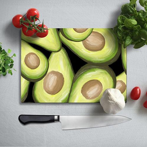 Avocado  Uv Printed Glass Chopping Board 35x25 cm