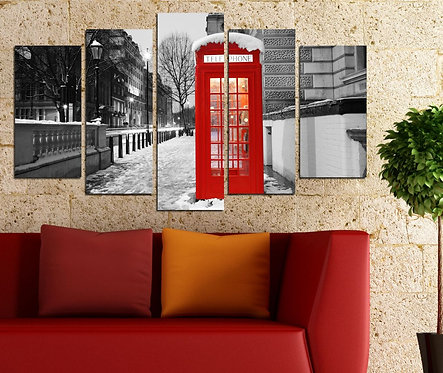 Uk phone booth 5 Pieces MDF Painting