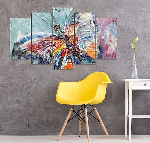 Oil Painting Butterfly 5 Pieces MDF Painting