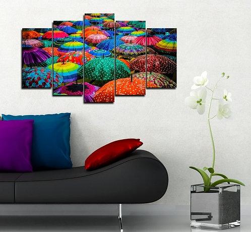 Colorful umbrellas 5 Pieces MDF Painting