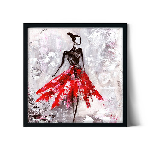 Red Skirt Framed Painting