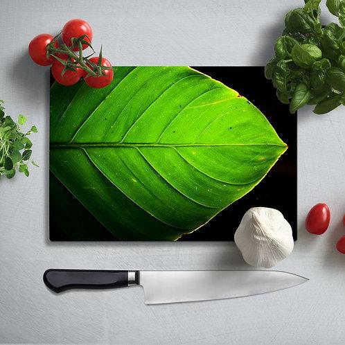 Green Leaf Uv Printed Glass Chopping Board 35x25cm