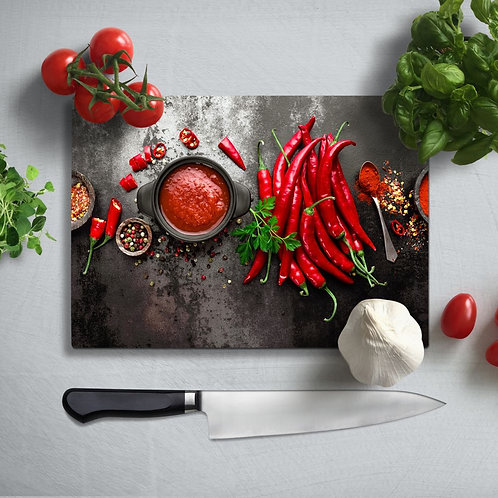 Red Pepper Uv Printed Glass Chopping Board 35x25cm