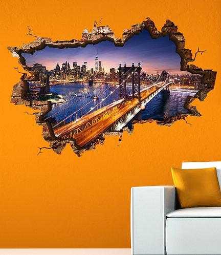 New York Bridge 3D Wall Sticker