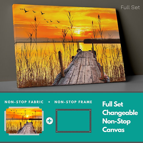 Reeds And Sunset Non-Stop Canvas Printings