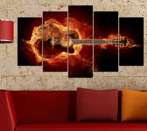 Guitar 5 Pieces MDF Painting