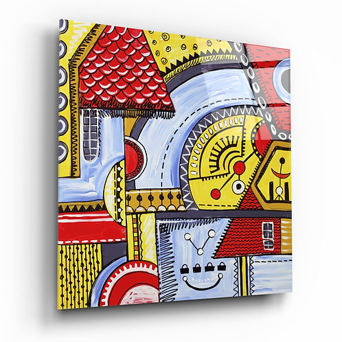 Abstract Houses Glass Painting