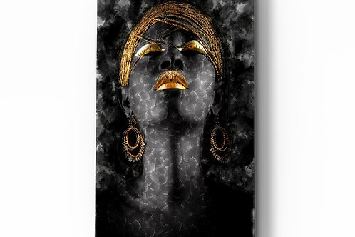 African Woman UV Printed Glass Painting