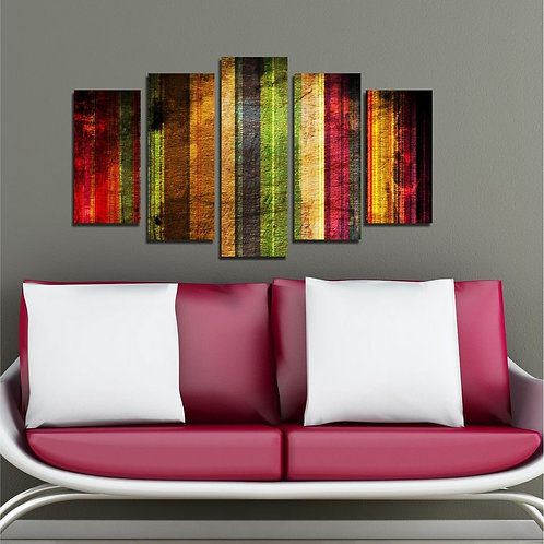 Colorful Stripes (2) 5 Pieces MDF Painting