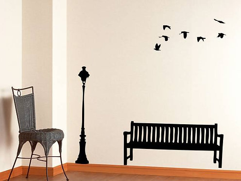 Street Lamp And Bench Wall Sticker