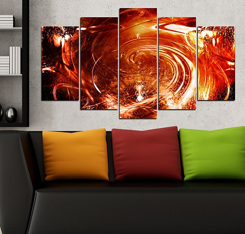 Red Chaos 5 Pieces MDF Painting