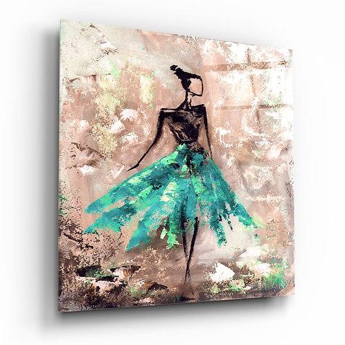 Women (Green) UV Printed Glass Painting