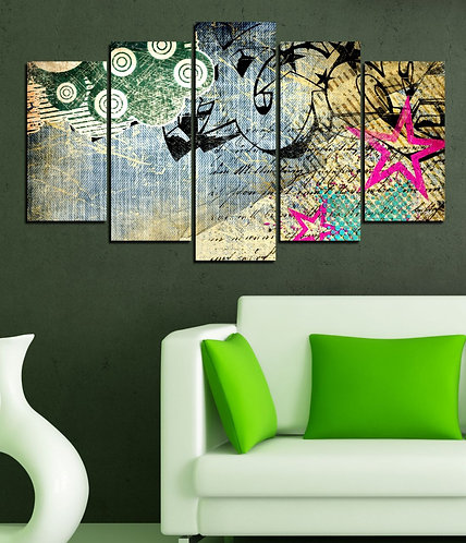 Cloud and Stars 5 Pieces MDF Painting