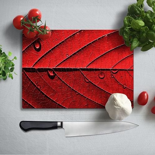 Red Leaf Uv Printed Glass Chopping Board 35x25cm