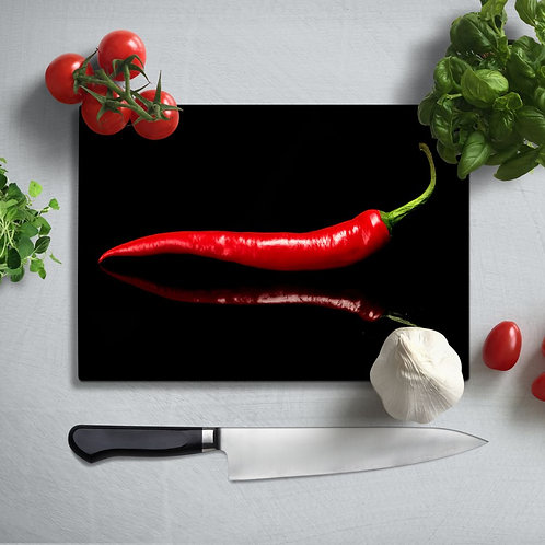 Red Pepper Uv Printed Glass Chopping Board 35x25cm